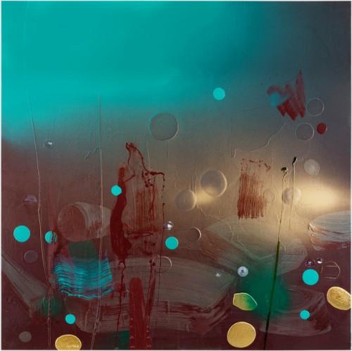 At the Heart of the Matter  III, 2016-2017, öljyväri, pigmentti, alkydi vaha ja lehtikulta MDF-levylle, 170x170 cm